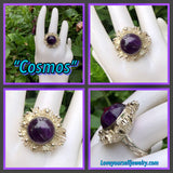 """COSMOS"" genuine raw amethyst set in unique solid sterling silver sunburst design RIng."