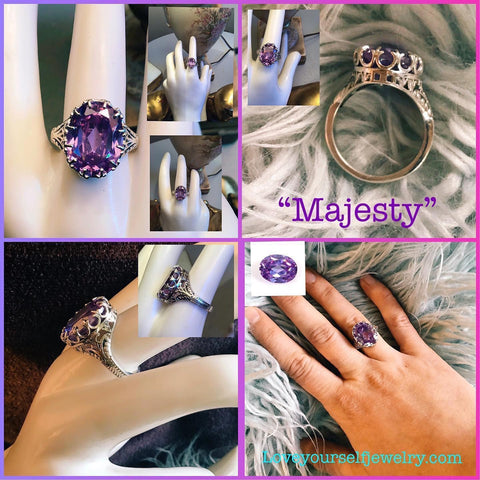 """Majesty"" 10 carat Royal lavender quartz set in stunning ornate oval crown setting. Solid sterling silver. $65"