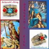 Deborah's Ring: flawless blue topaz with coral accents set in solid sterling silver with brass wrap accents