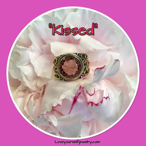 """ KISSED"" From the ""BELOVED"" series. Gorgeous pink amethyst 4 carat, set in solid sterling silver with brass and copper accents. We will size to you.  (Size 8) $58"