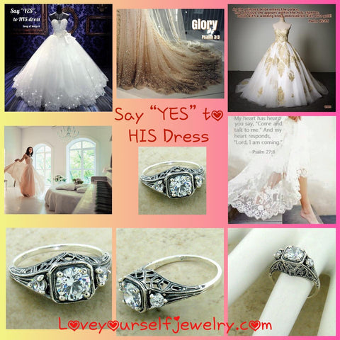 "SAY ""YES"" to His Dress. Gorgeous 3 stone simulated diamonds set in a romantic solid sterling silver ornate setting. We will size to you. $55"