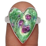 """Into the Fathers Heart""  first four in a series sterling silver set with Ruby in Fuchsite gorgeous ring and pendants"