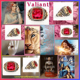 """Valiant""  4 carat tourmaline rubellite set in solid sterling silver with brass and copper accents"