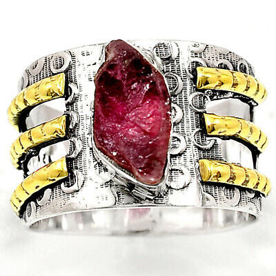 """Realm"" gorgeous raw pink tourmaline ring  set in solid sterling silver with brass accents"