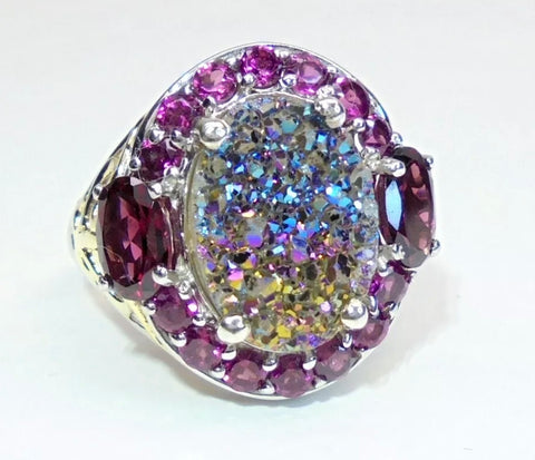 """Expansion"" Ring,  stunning rainbow Druzy set in solid sterling silver surrounded by rhodolite garnets"