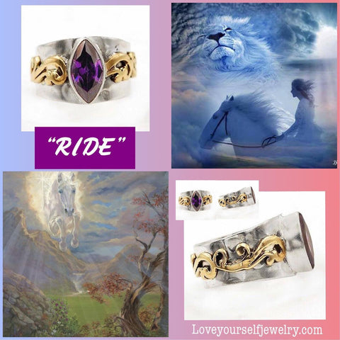 """Ride"" gorgeous marquise amethyst set in solid sterling silver with ornate brass accent"