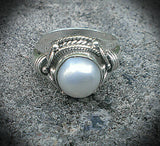 Ornate sterling silver button pearl ring.  Sz 9