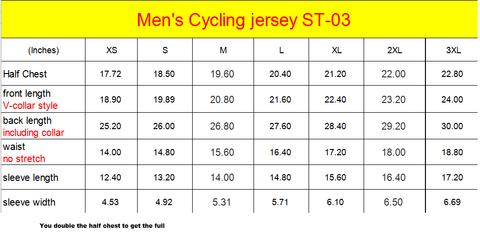 Mens Jersey Sizing  Chart in Inches