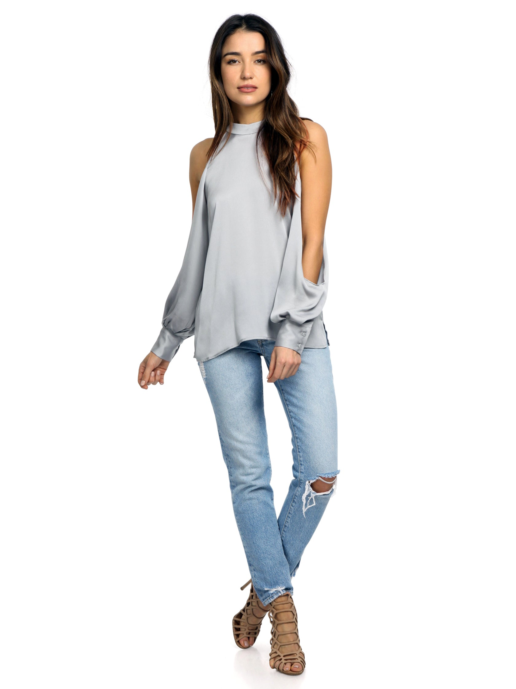Girl wearing a top rental from 1.STATE called Cold Shoulder Blouson Sleeve Blouse