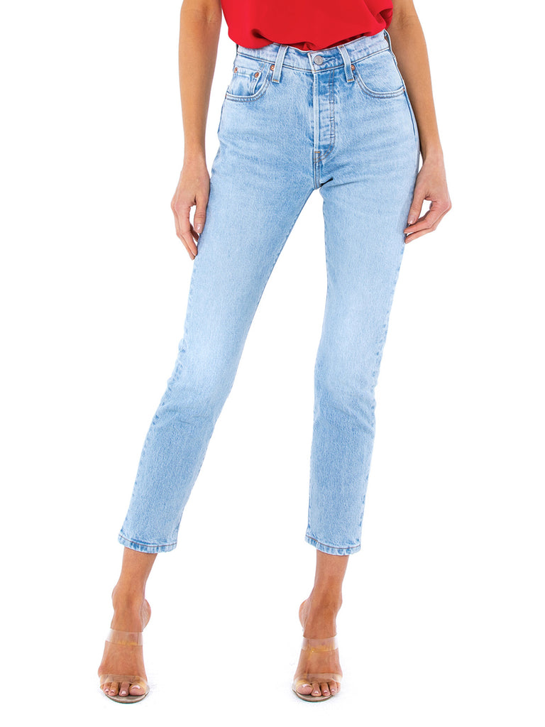 Women wearing a denim rental from Levis called 501 Skinny