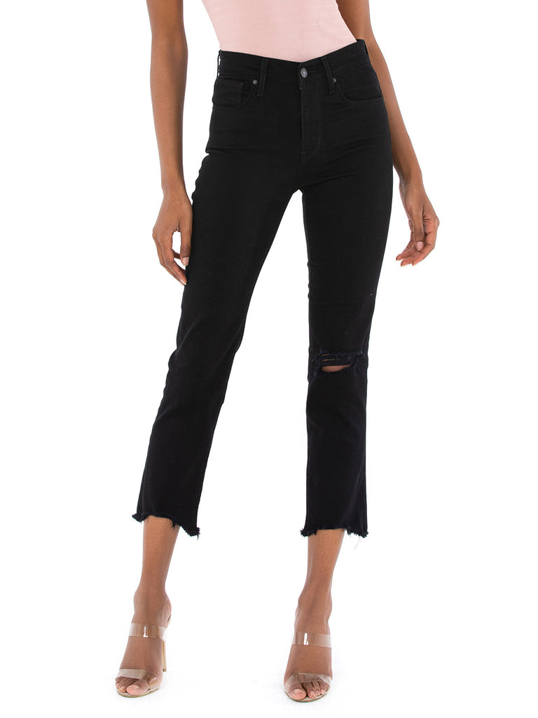 Women wearing a denim rental from Levis called 724 High Rise Straight Crop