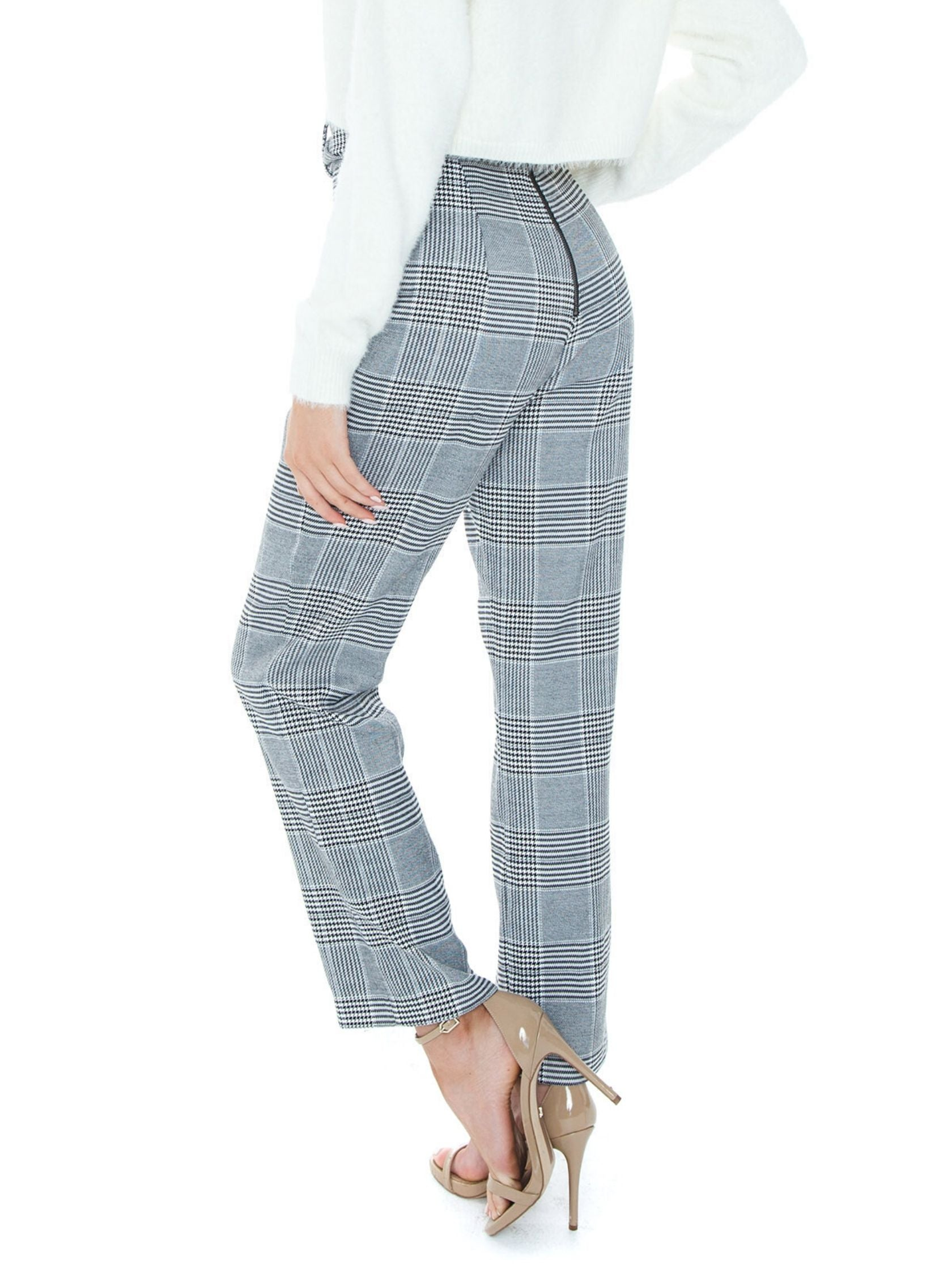 Women outfit in a pants rental from BARDOT called Belted Check Pant