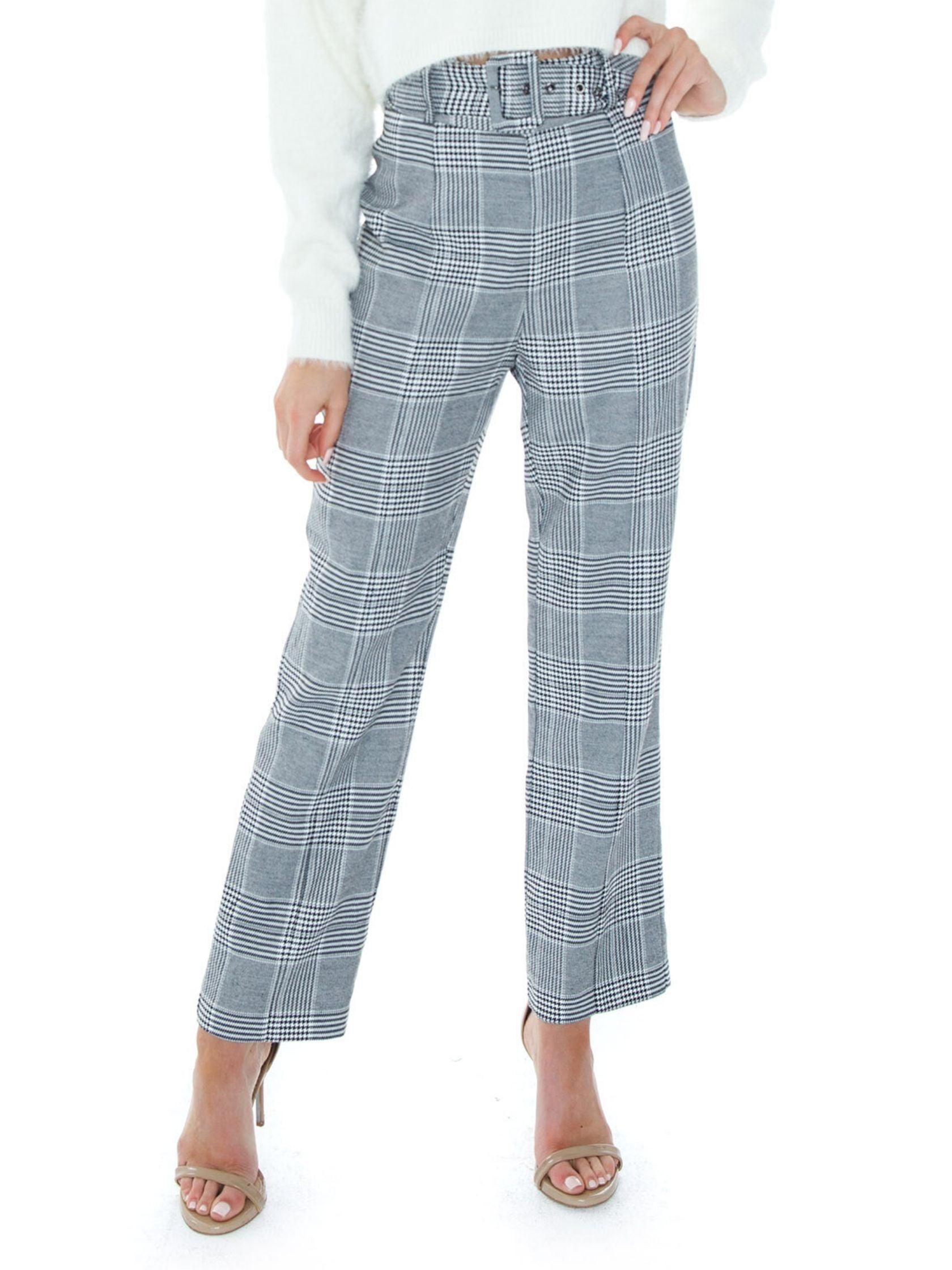 Woman wearing a pants rental from BARDOT called Belted Check Pant