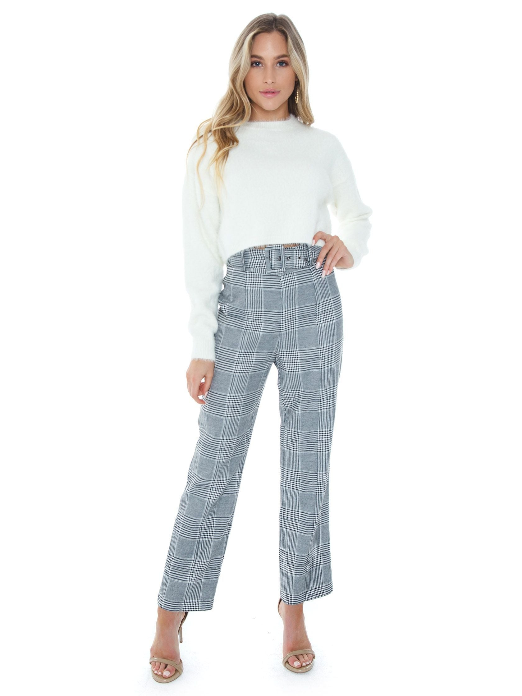 Girl wearing a pants rental from BARDOT called Belted Check Pant