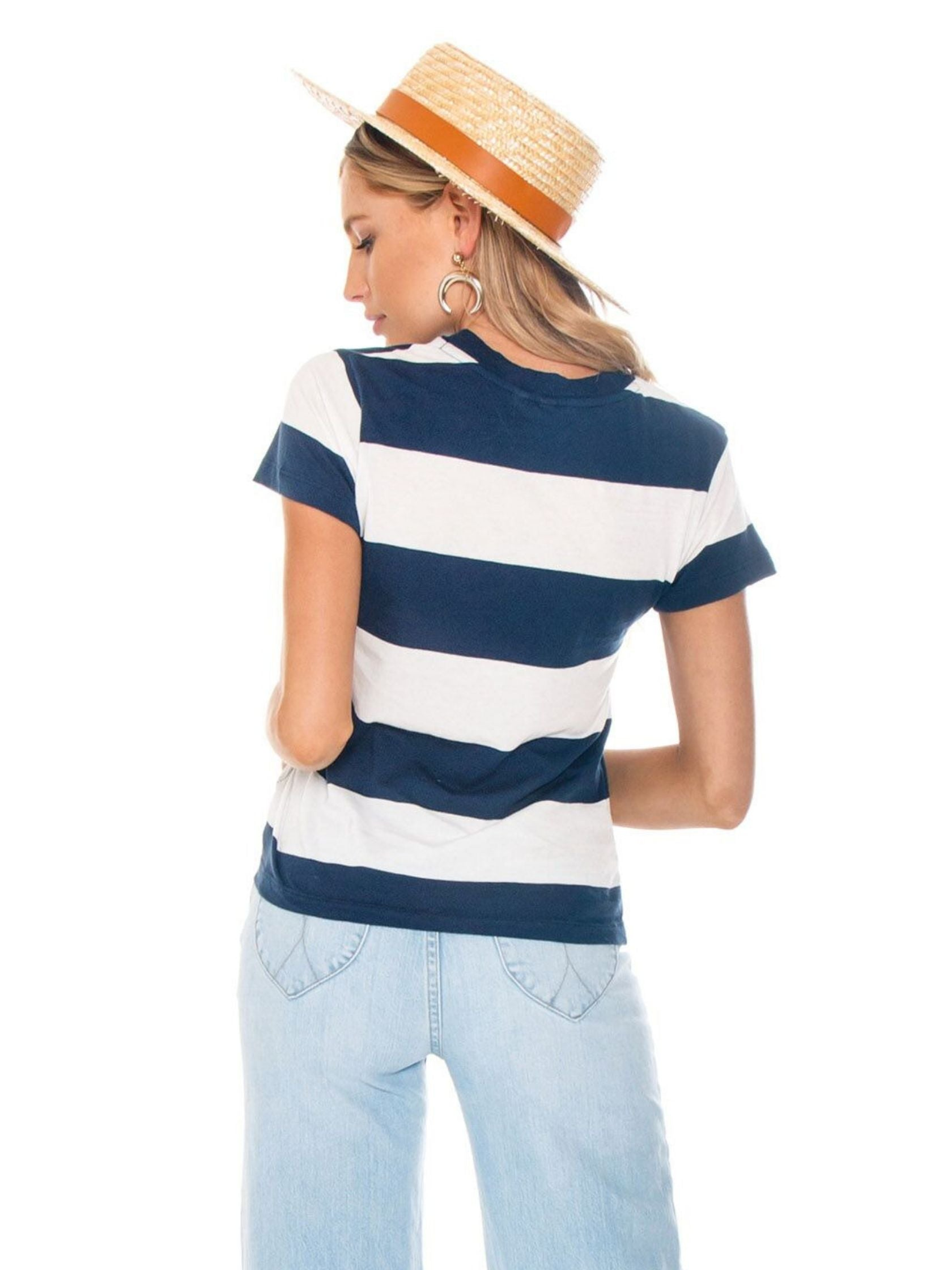 Women outfit in a top rental from ROLLAS called Big Stripe Tee