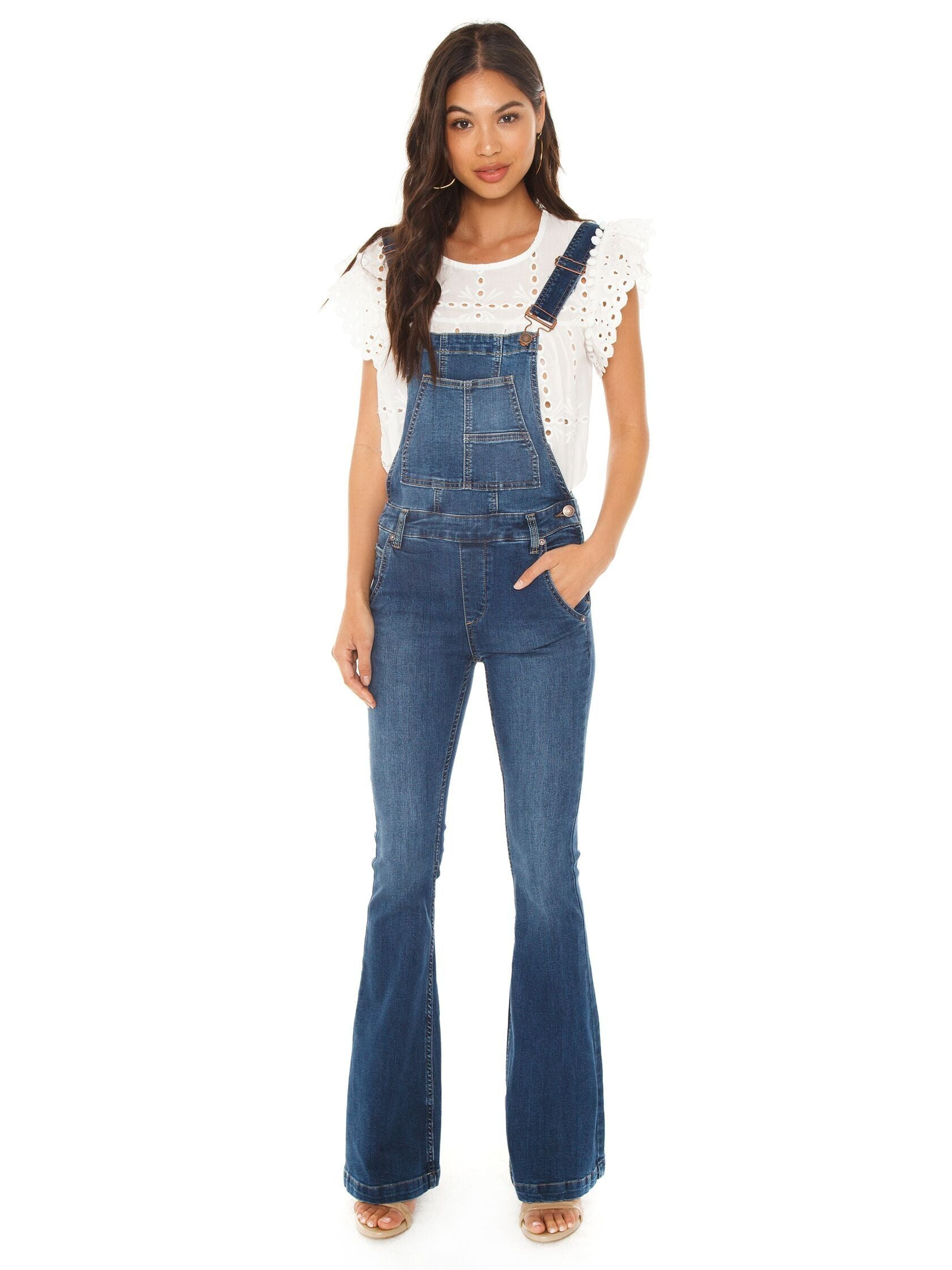 Girl outfit in a overalls rental from Free People called Carly Flare Overall