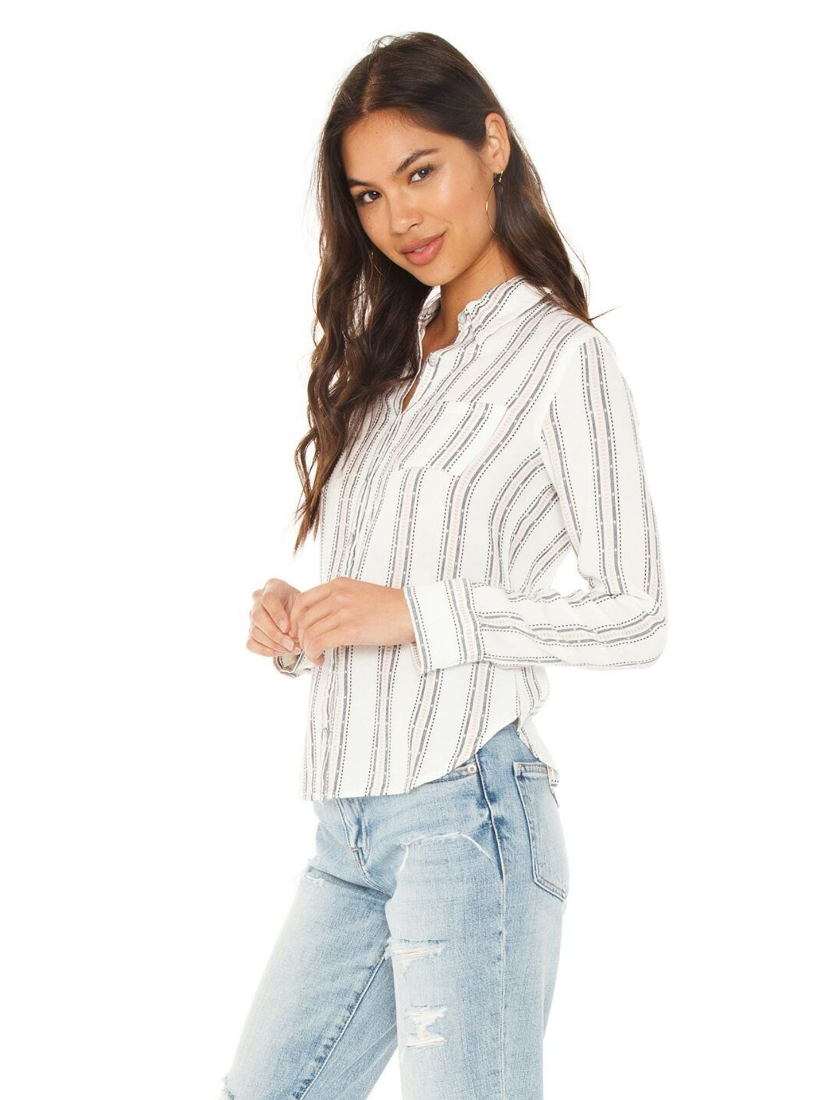 Women wearing a top rental from Chaser called Classic Button Down Blouse