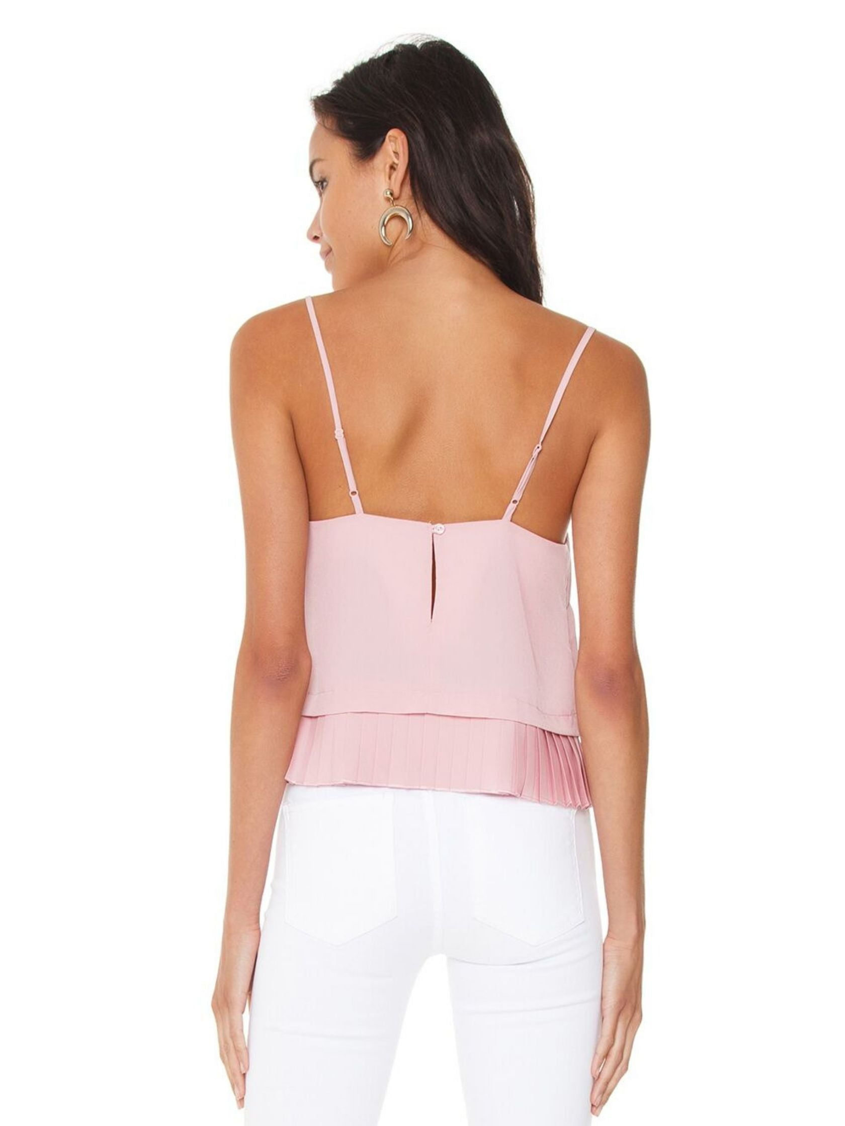 Women wearing a top rental from French Connection called Classic Crepe Pleated Tank