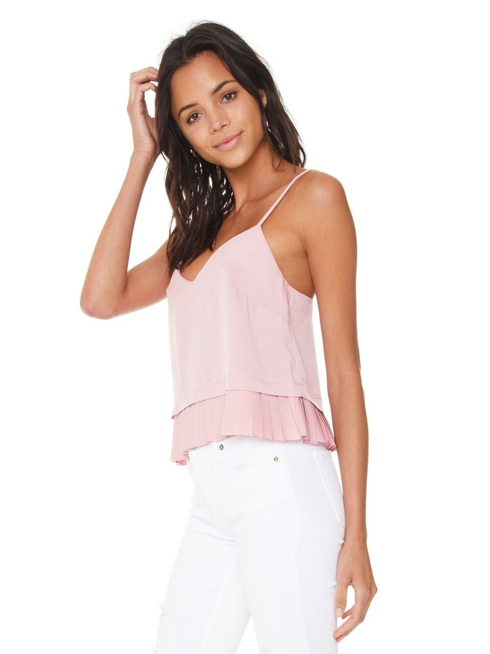 Woman wearing a top rental from French Connection called Classic Crepe Pleated Tank
