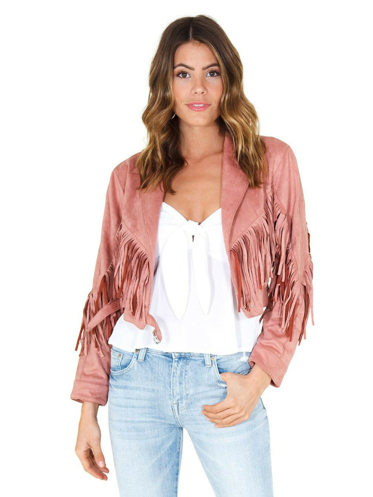 Girl wearing a jacket rental from FASHIONPASS called Rose Crop Top