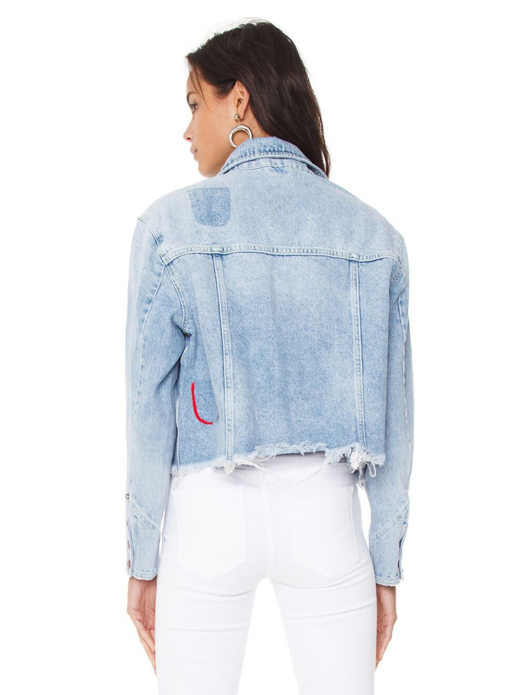Women outfit in a jacket rental from Free People called Dillon Denim Jacket