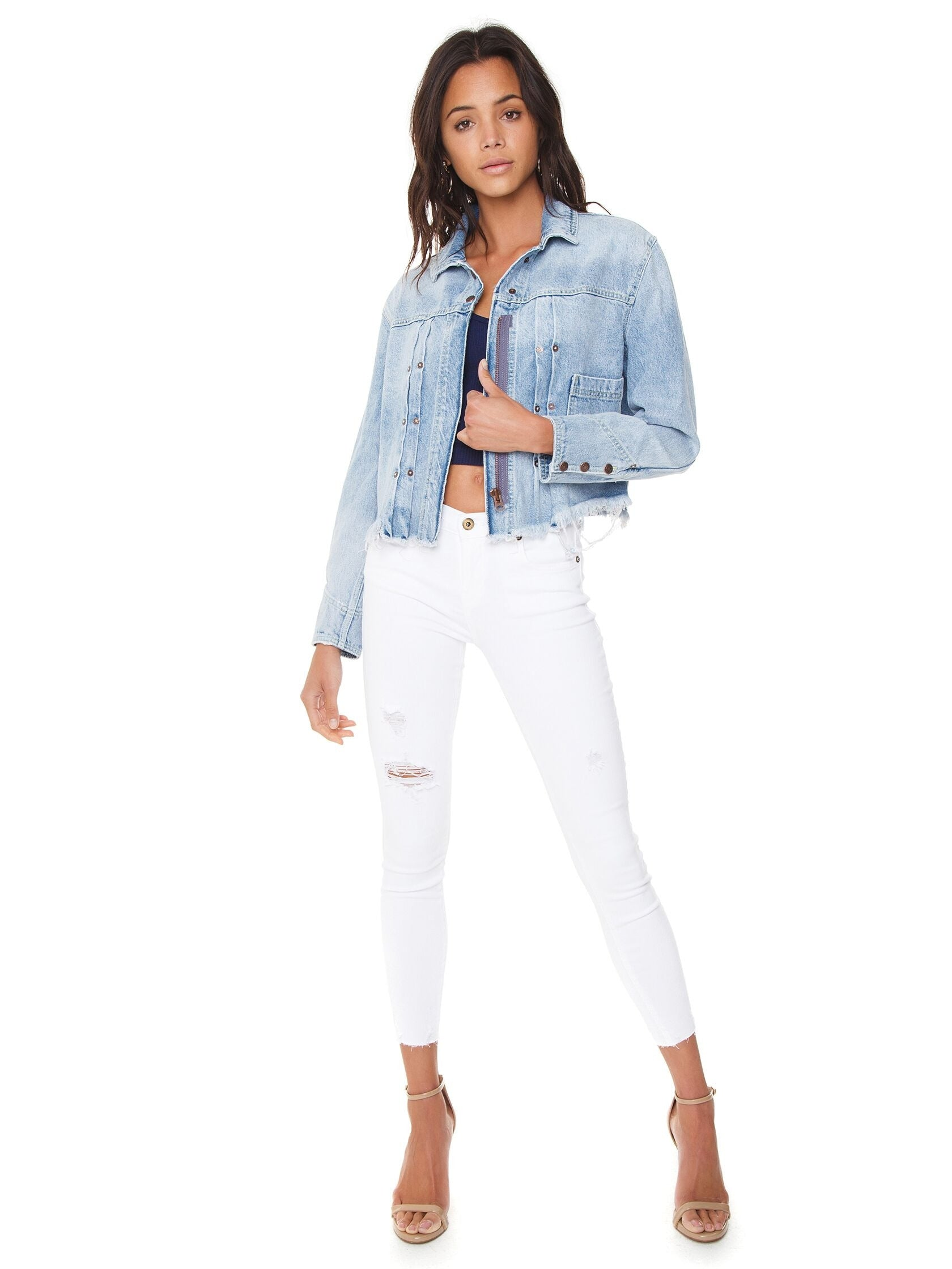 Girl wearing a jacket rental from Free People called Dillon Denim Jacket