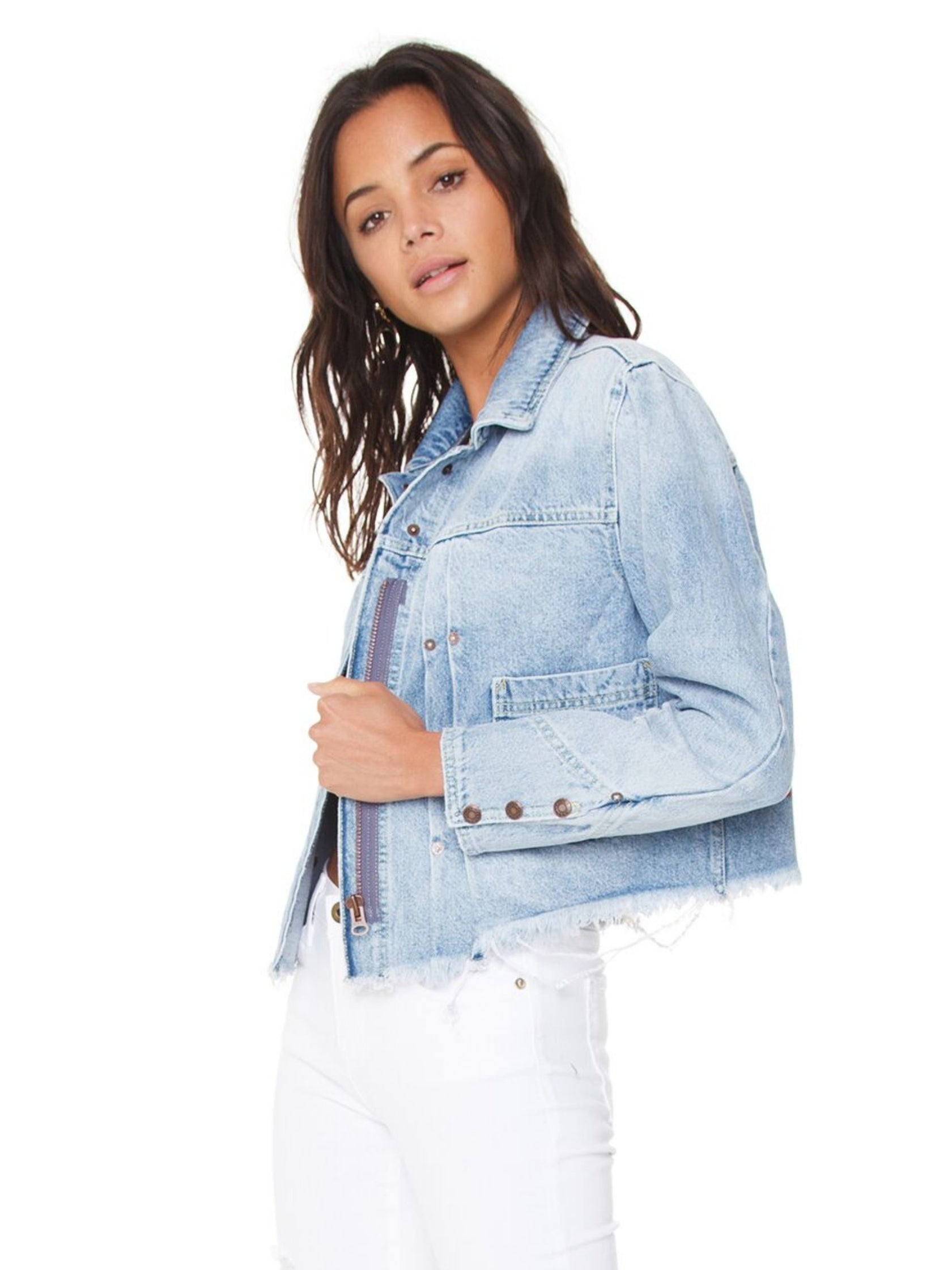Women wearing a jacket rental from Free People called Dillon Denim Jacket
