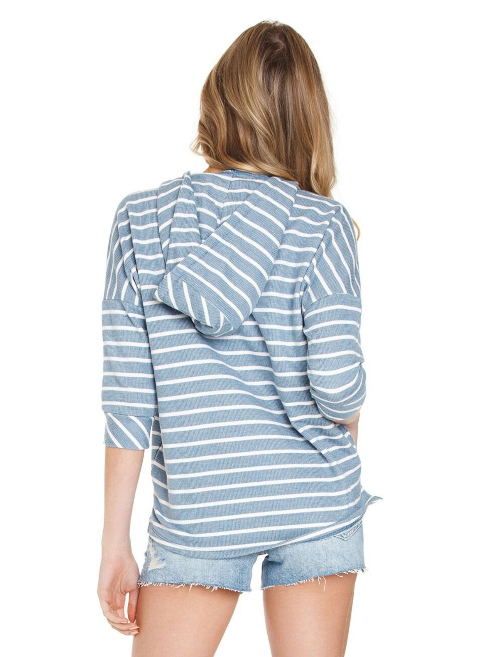 Women outfit in a top rental from Chaser called French Terry Striped 3/4 Sleeve Side Split Pullover