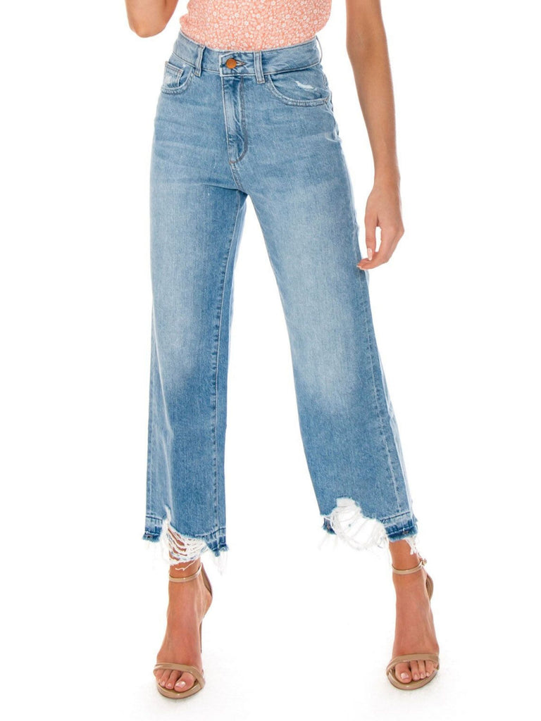 Women outfit in a denim rental from DL1961 called Hepburn High Rise Wide Leg