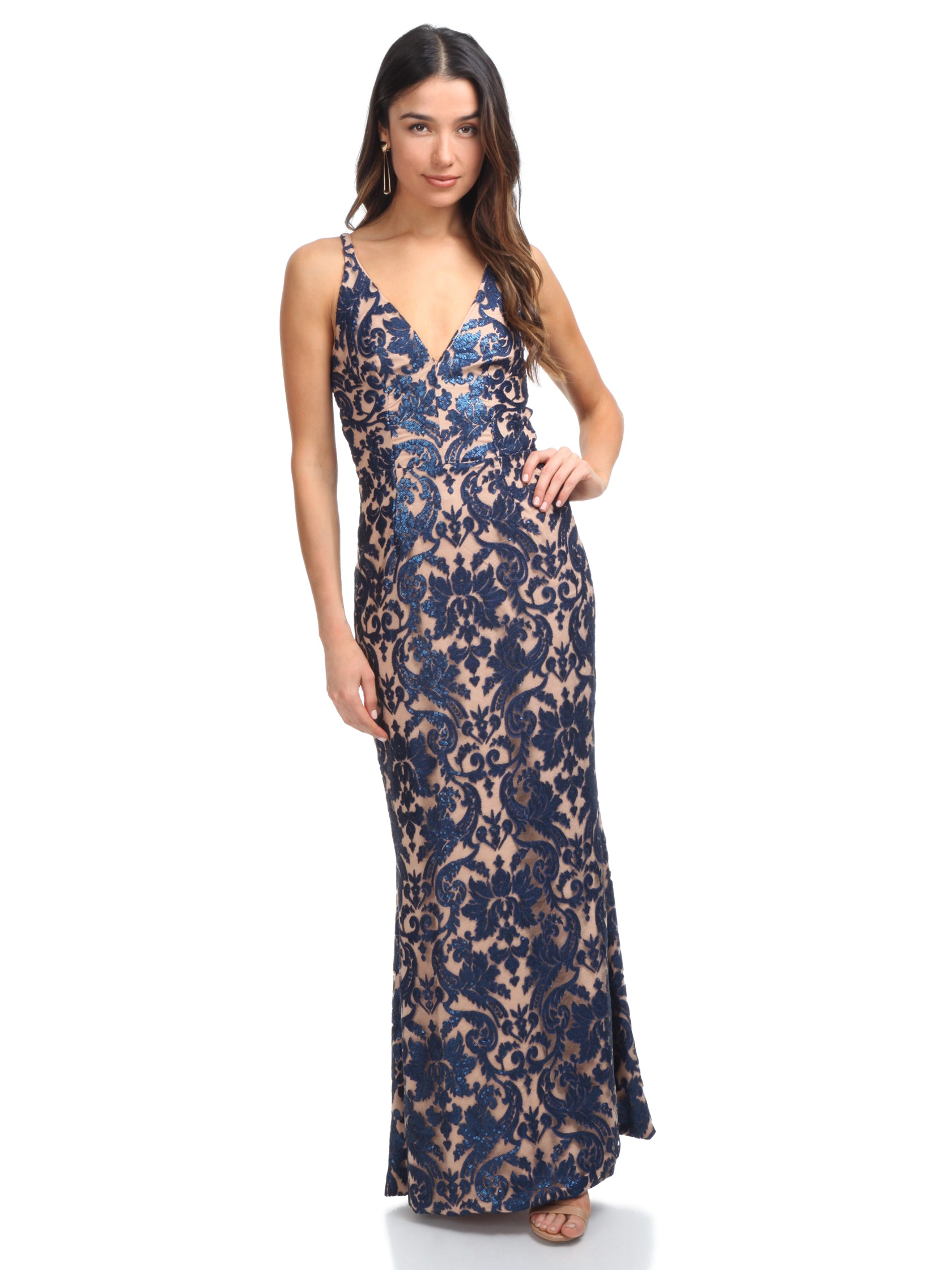 Girl outfit in a dress rental from Dress the Population called Karen Sequin Lace Gown