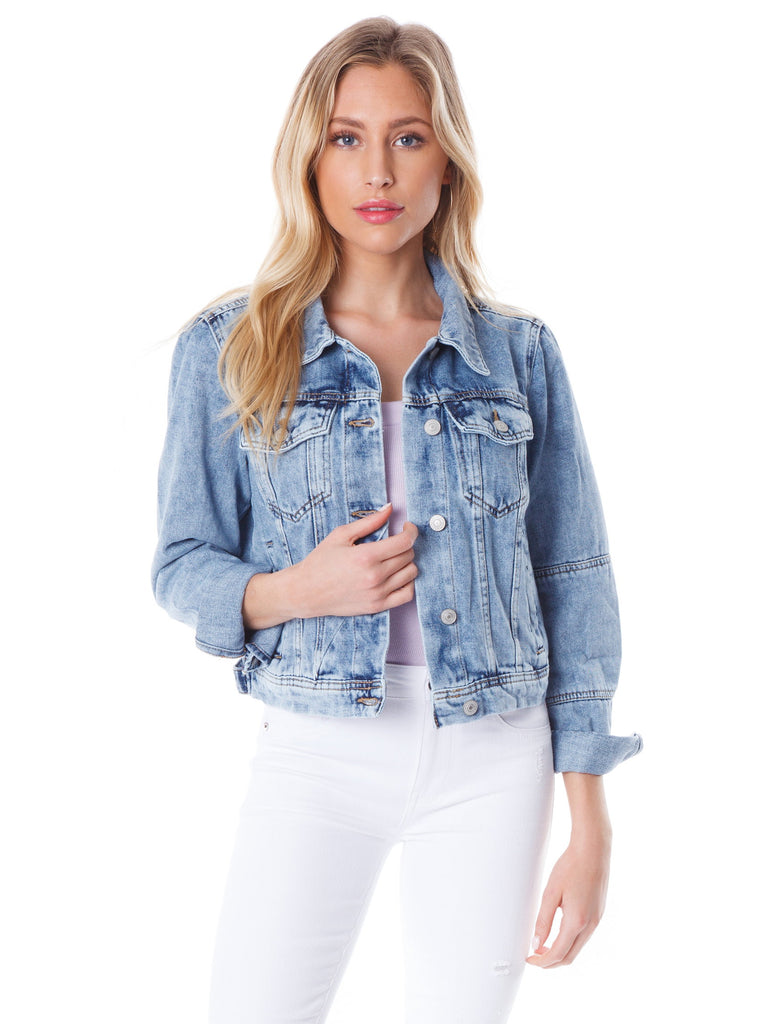 Women wearing a jacket rental from Free People called Rumors Denim Jacket