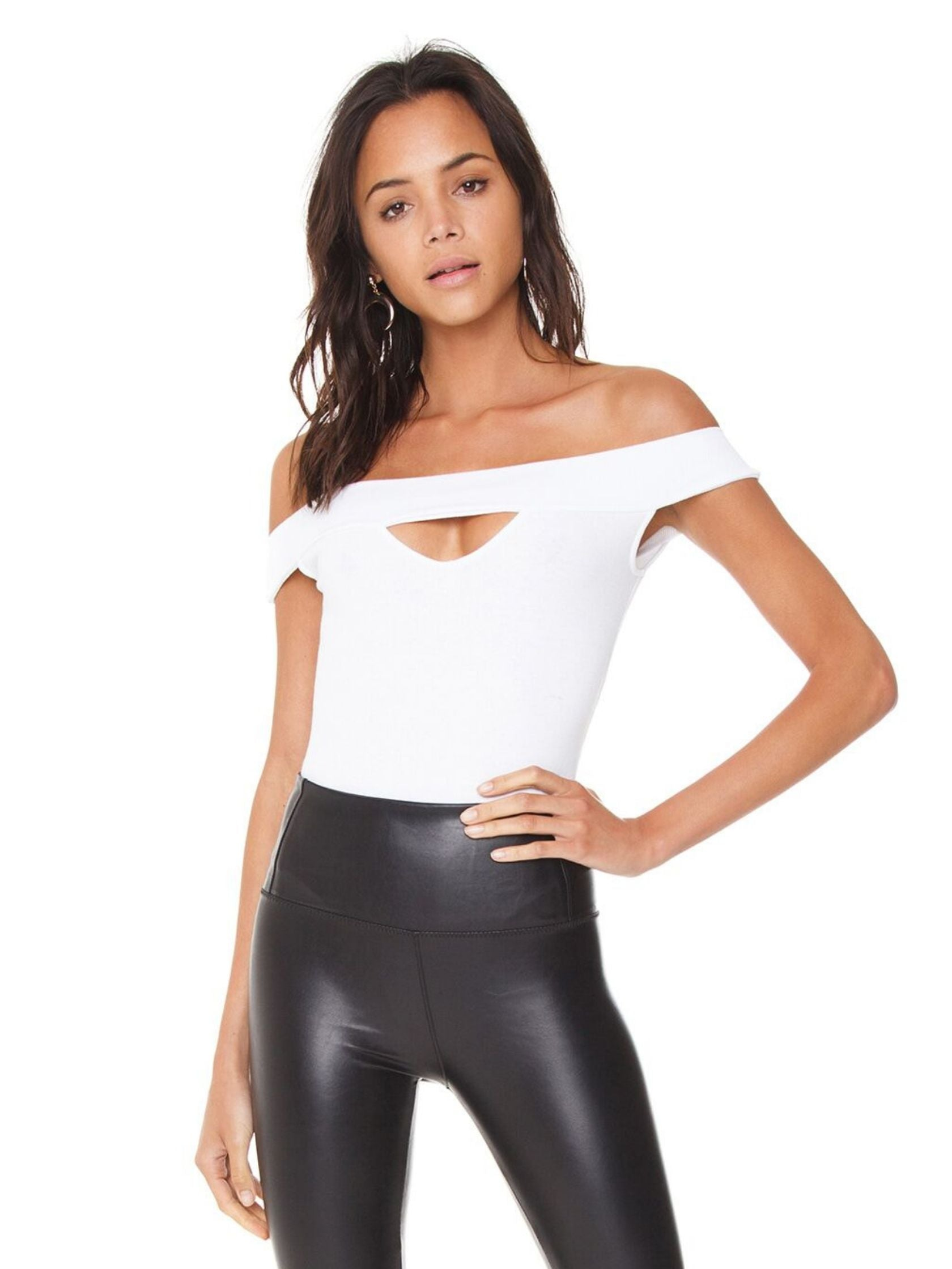 Woman wearing a bodysuit rental from BB Dakota called Joplin Off The Shoulder Bodysuit