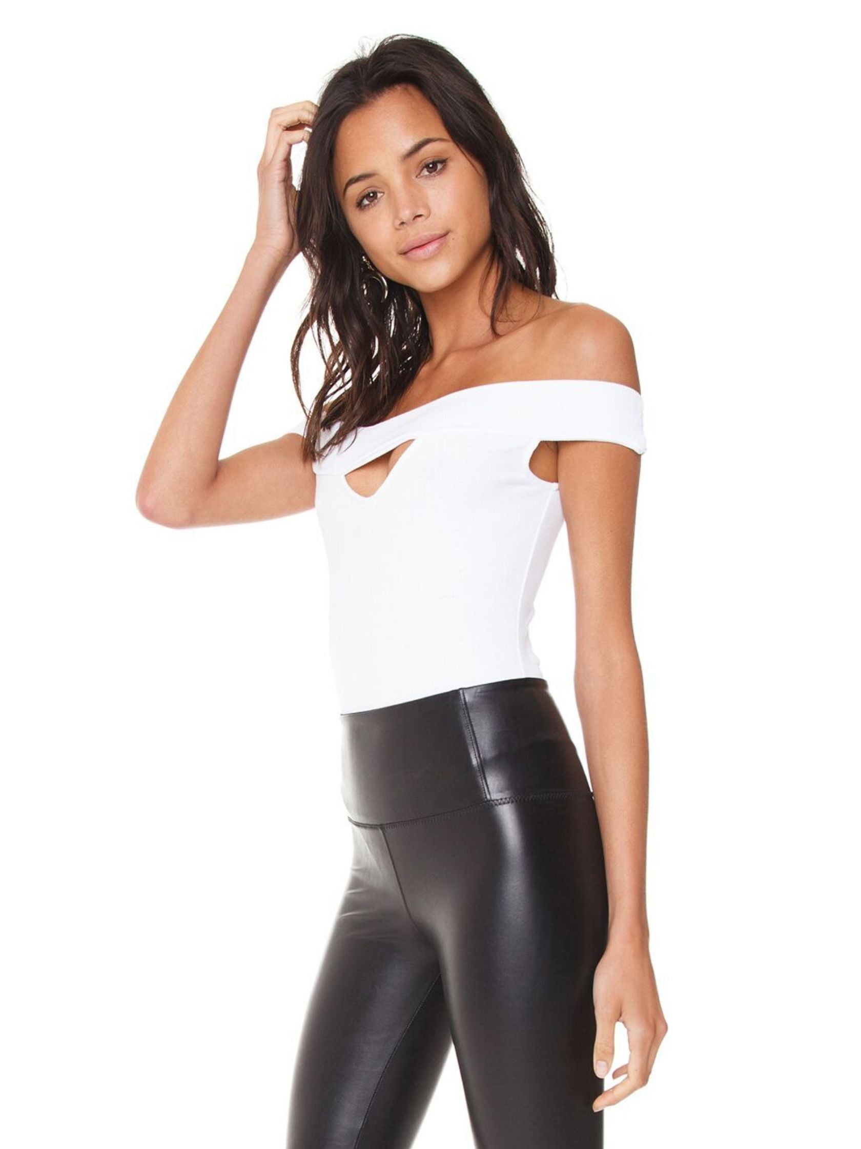 Women wearing a bodysuit rental from BB Dakota called Joplin Off The Shoulder Bodysuit