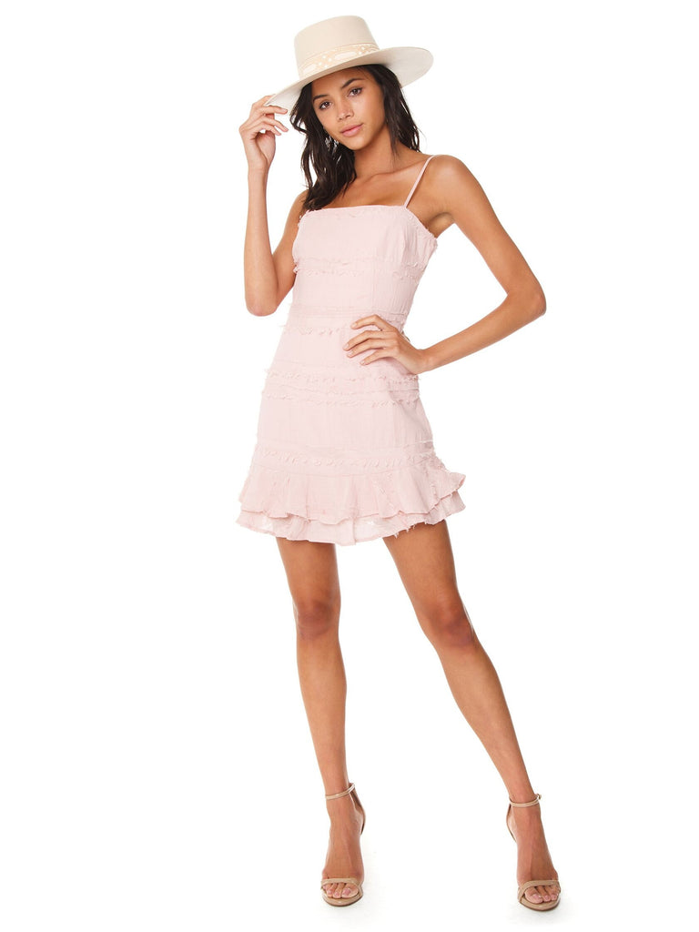 Girl wearing a dress rental from FASHIONPASS called Canyonlands Cord Jumper