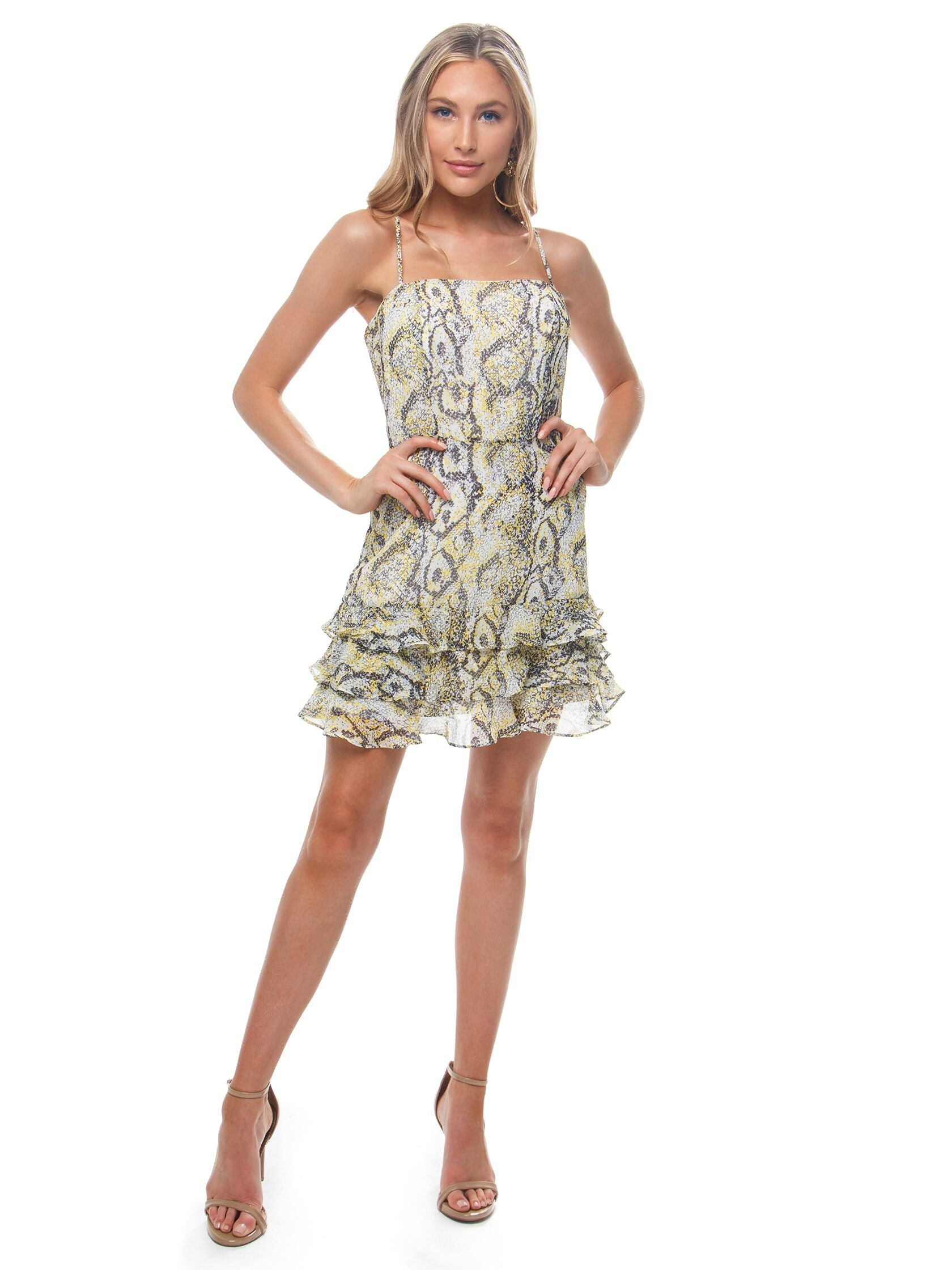 Women outfit in a dress rental from BARDOT called Madison Frill Dress