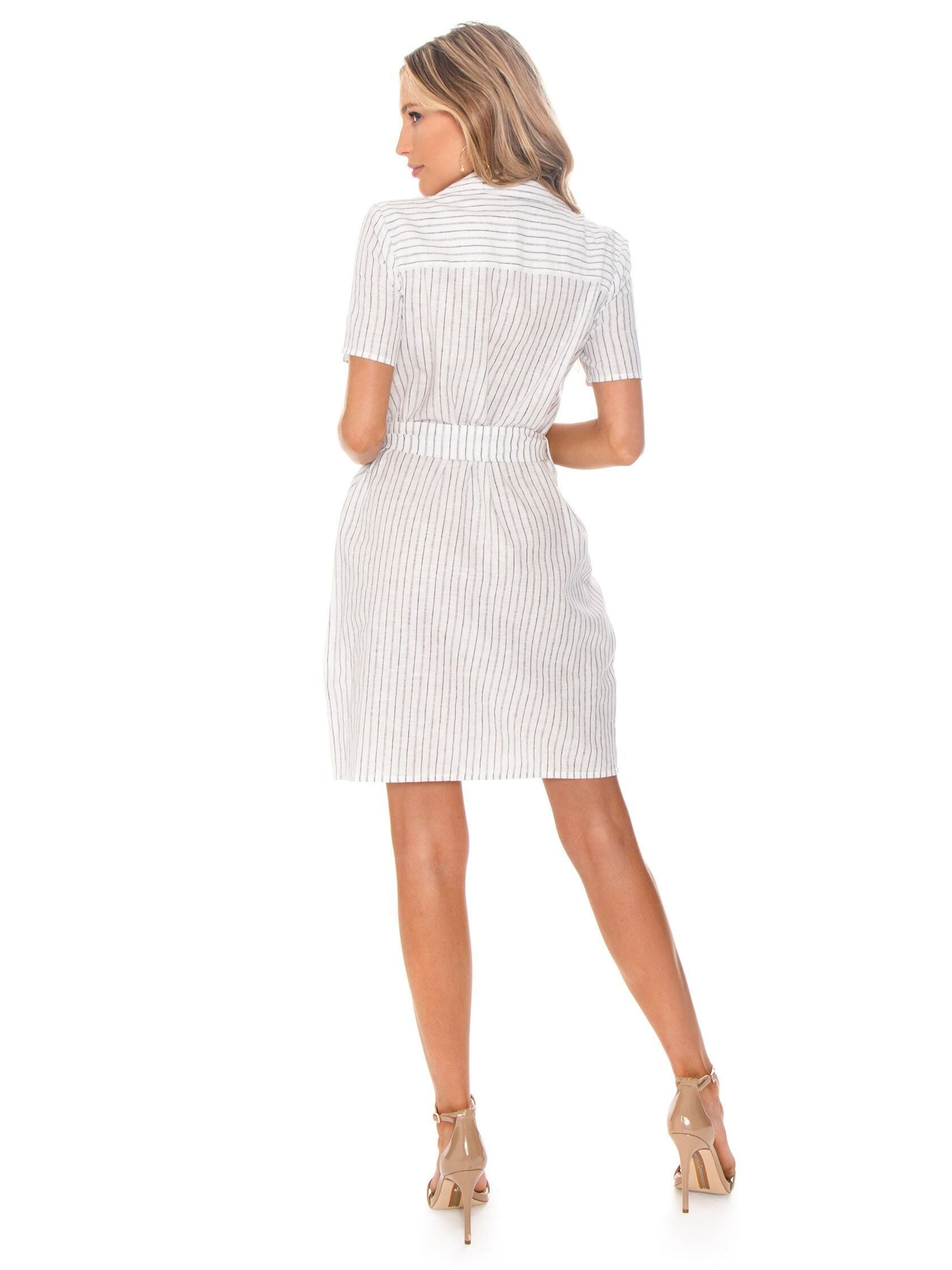 Women wearing a dress rental from 1.STATE called Patch Pocket Canopy Stripe Dress