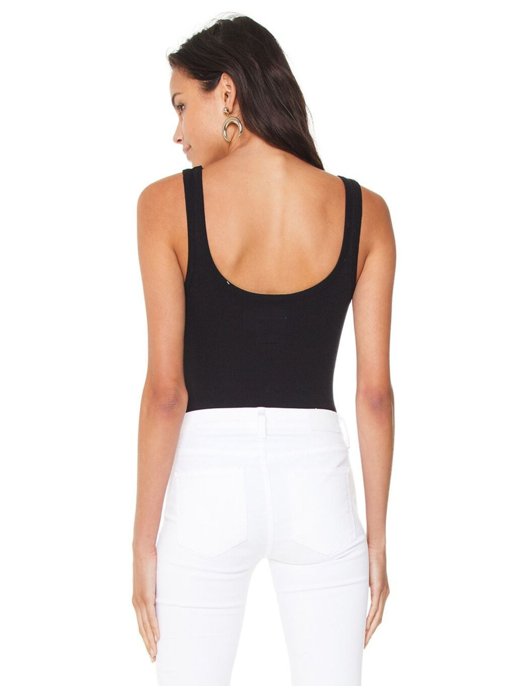 Women wearing a bodysuit rental from Chaser called Scoop Neck Bodysuit