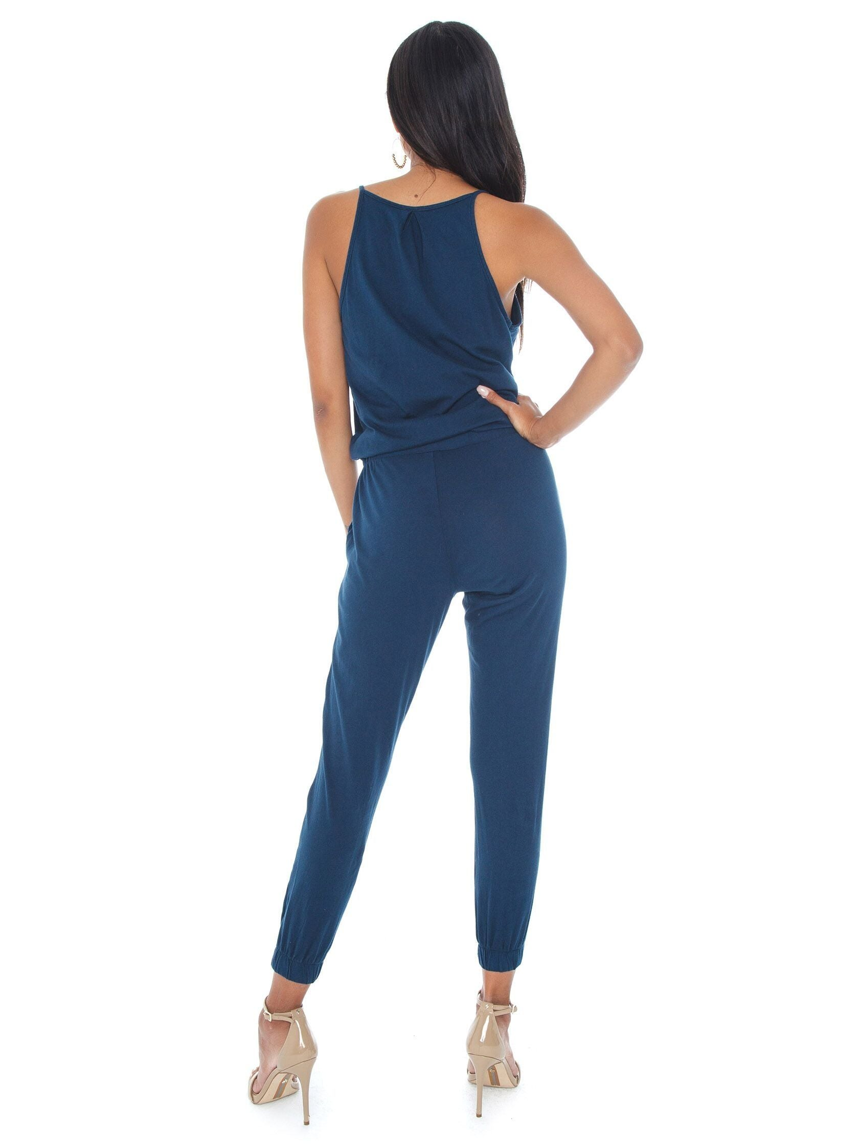 Women wearing a jumpsuit rental from Bobi called Surplice Jumpsuit