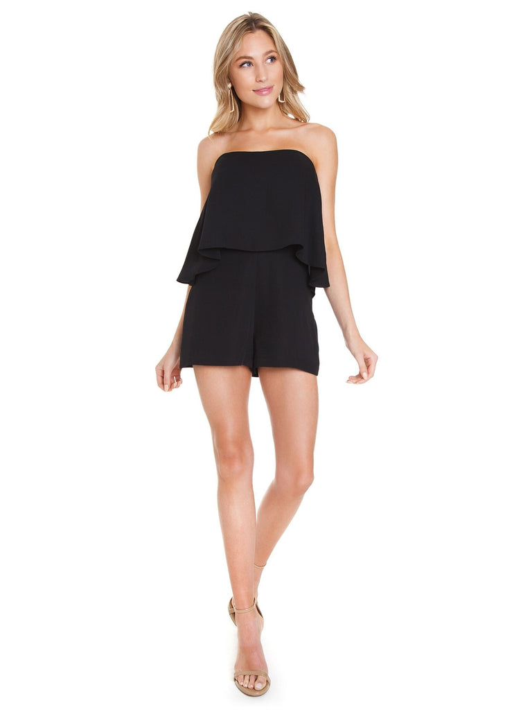 Women outfit in a romper rental from Amanda Uprichard called Makenna Dress
