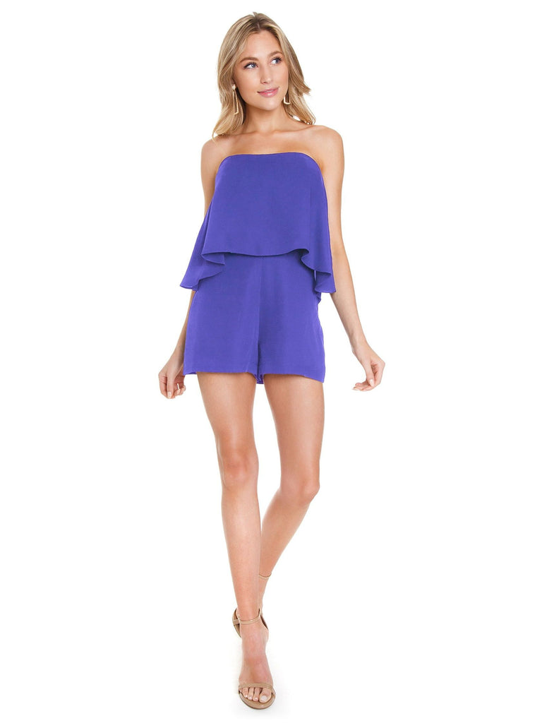 Women outfit in a romper rental from Amanda Uprichard called Remi Jumper