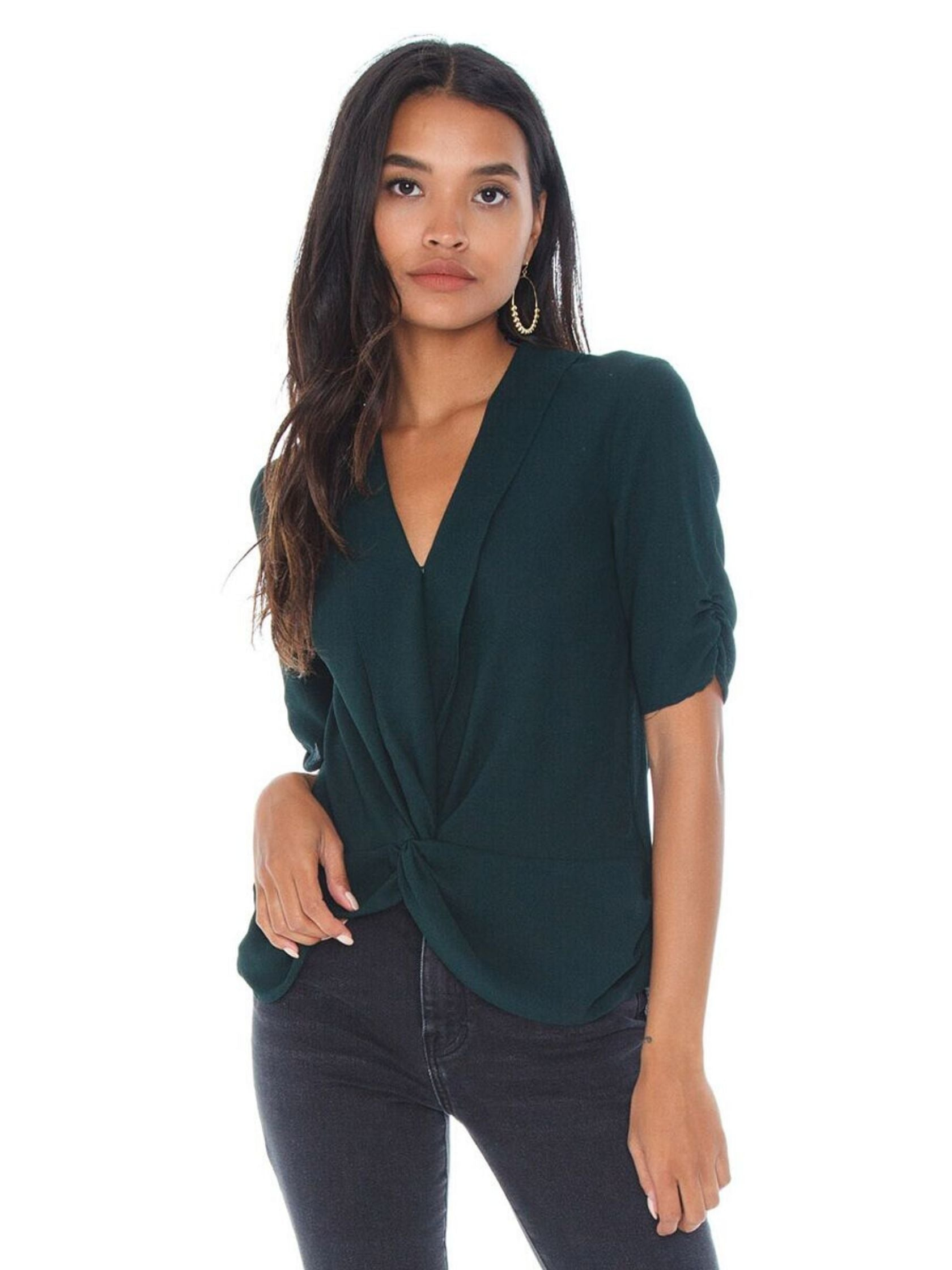 Woman wearing a top rental from 1.STATE called Twist Front Blouse