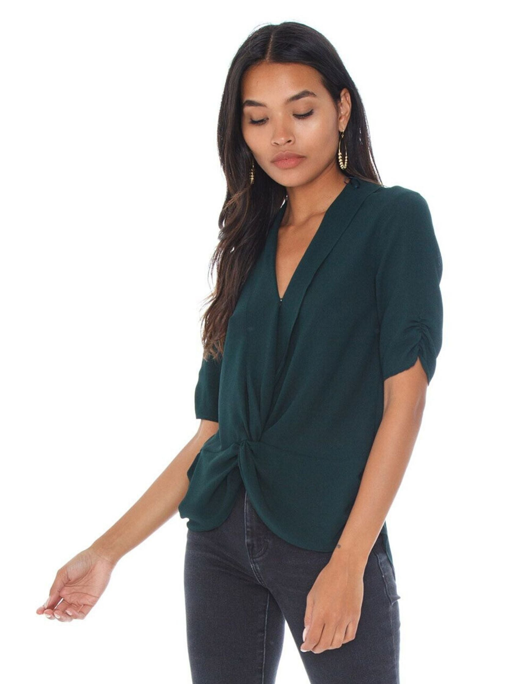 Women wearing a top rental from 1.STATE called Twist Front Blouse