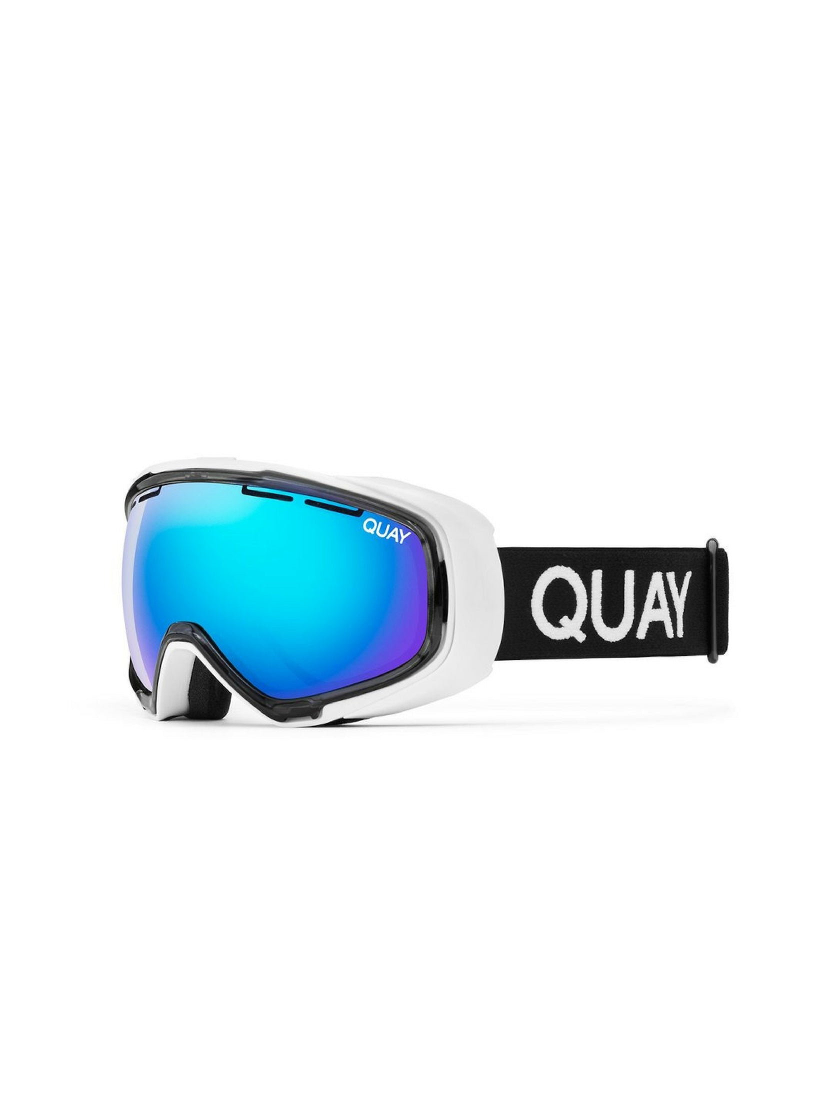 Girl wearing a sunglasses rental from Quay Australia called White Out