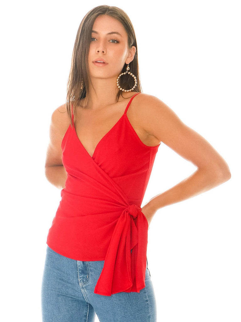 Women wearing a cami rental from 1.STATE called Wrap Front Cami