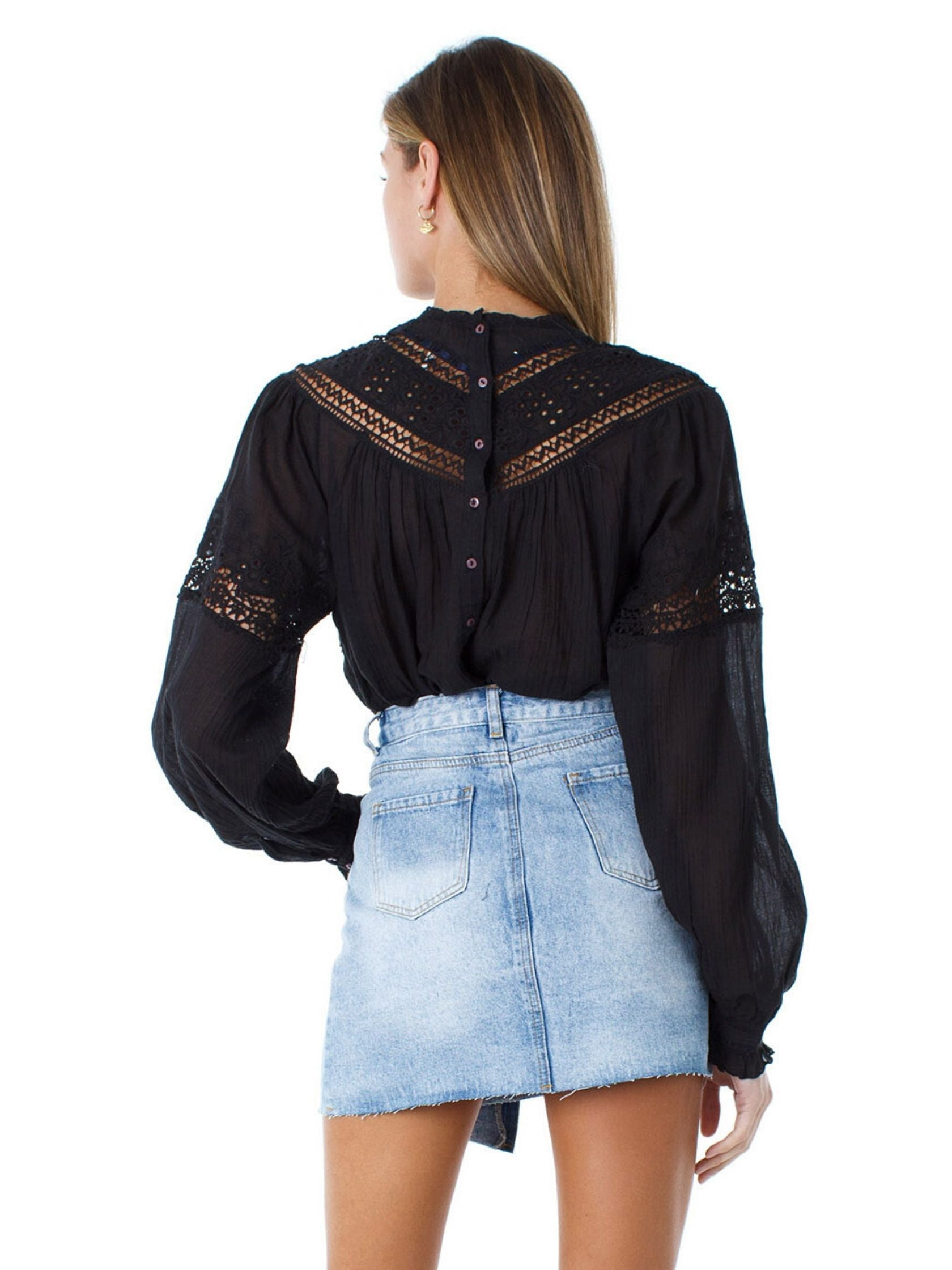 Women outfit in a top rental from Free People called Abigail Victorian Top