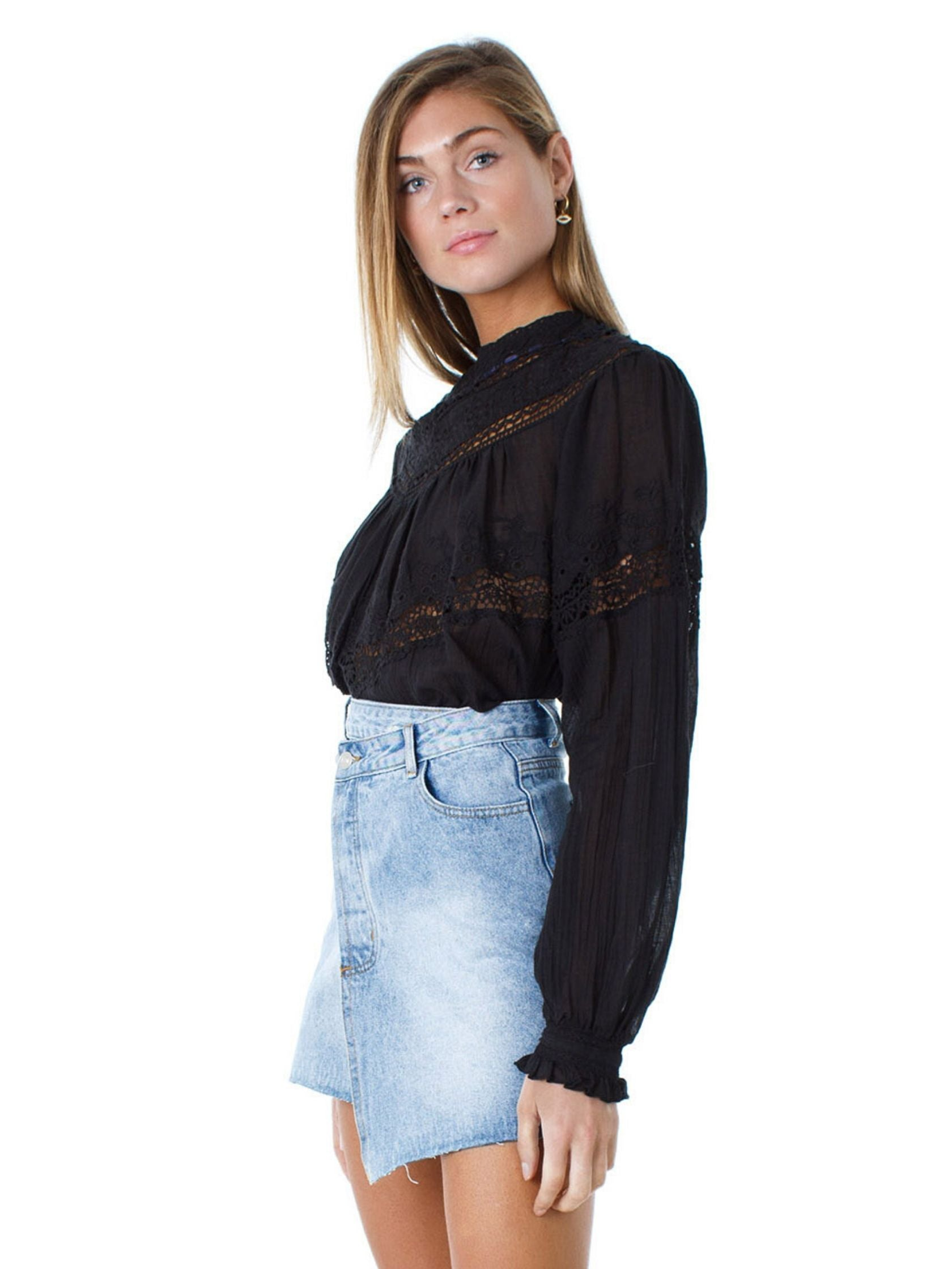 Women wearing a top rental from Free People called Abigail Victorian Top