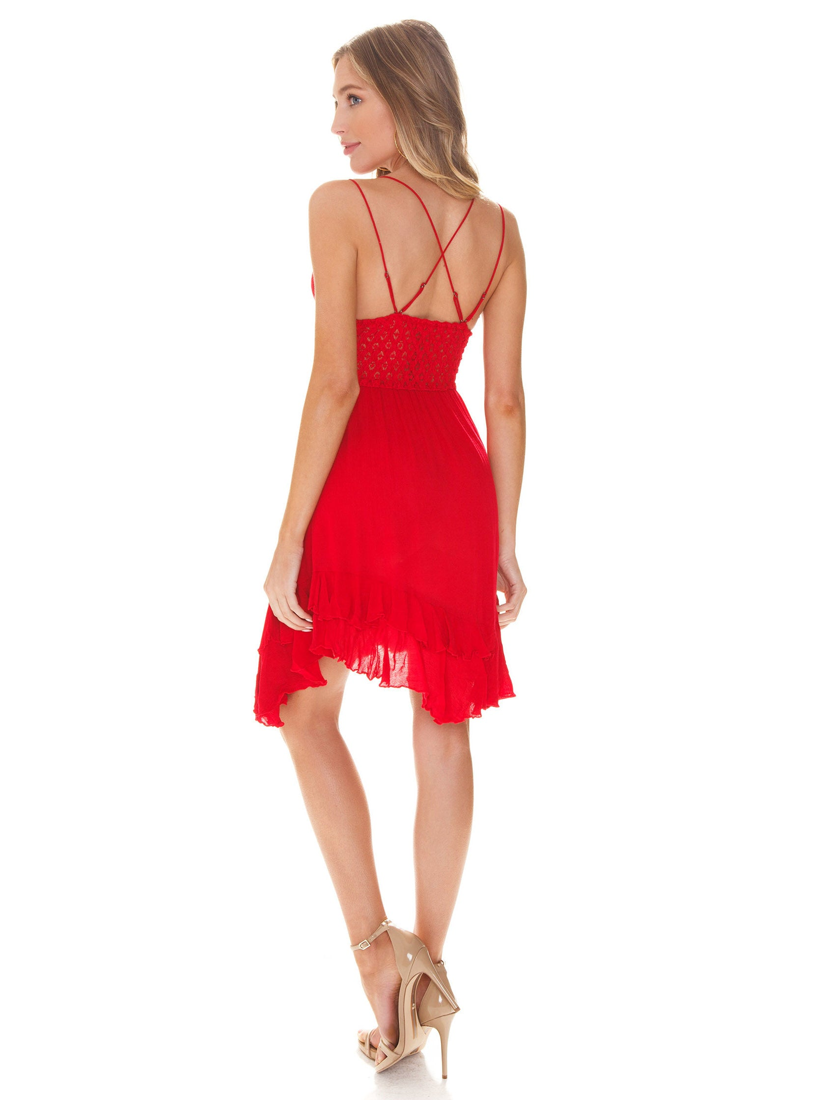 Women wearing a dress rental from Free People called Adella Slip Dress
