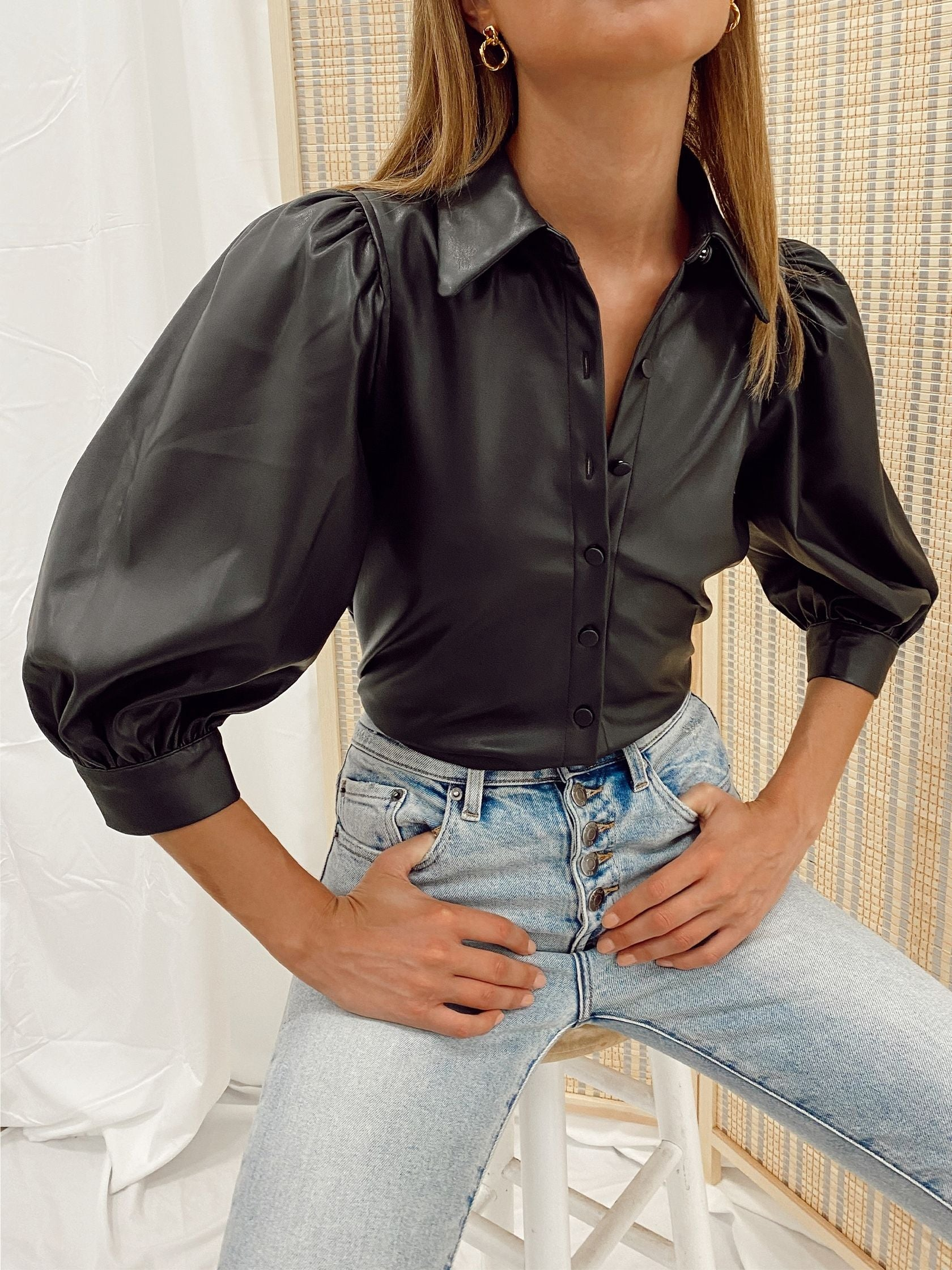 Woman wearing a top rental from PISTOLA called Adina Puff Sleeve Shirt