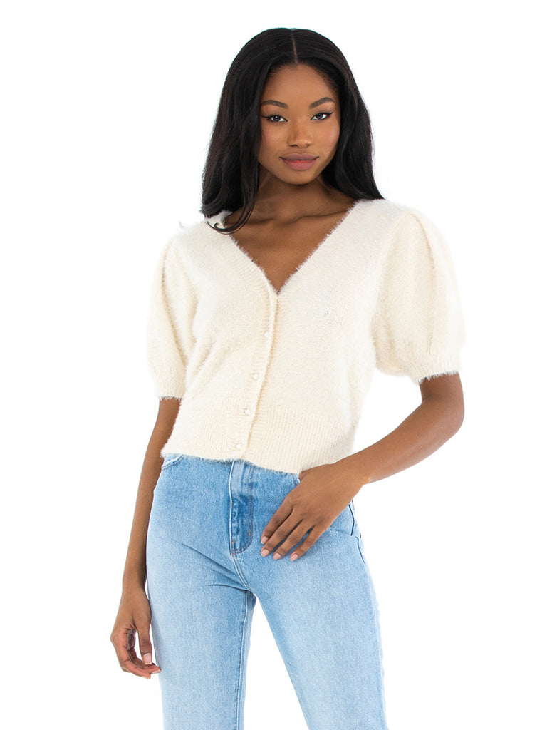 Women wearing a cardigan rental from ASTR called Rosalie Crop Top
