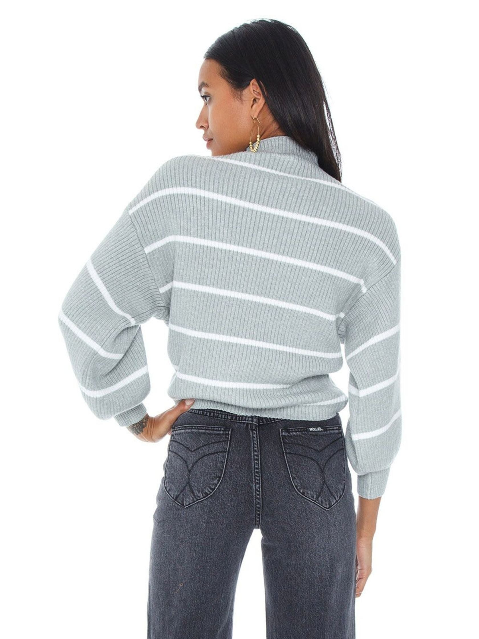 Women outfit in a sweater rental from Line & Dot called Alder Stripe Sweater